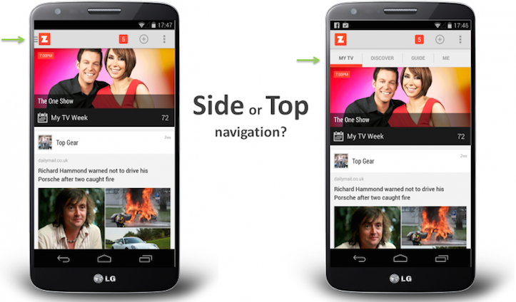 Side and top nav
