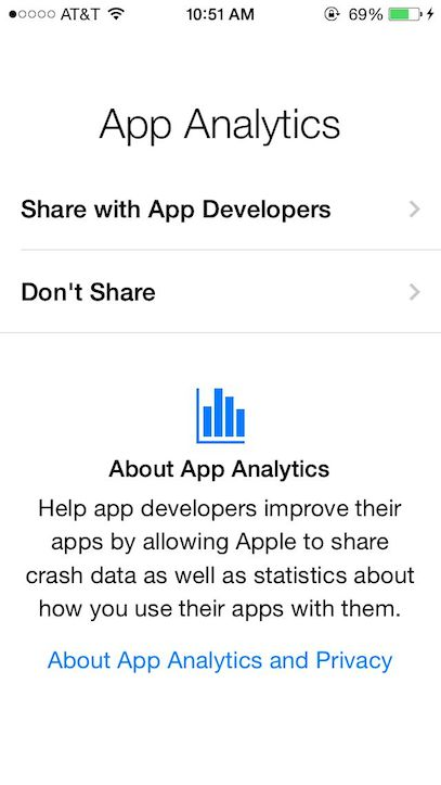 アプリの統計情報を開発元に送信可能に