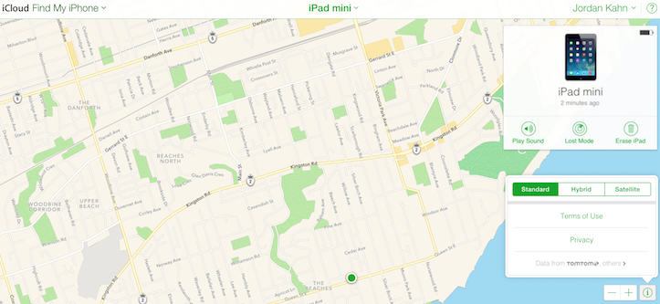 Apple maps find my iphone icloud