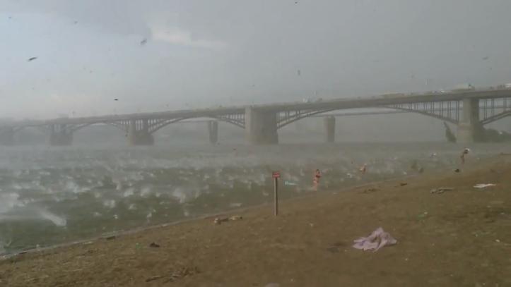 Hail raining on beach