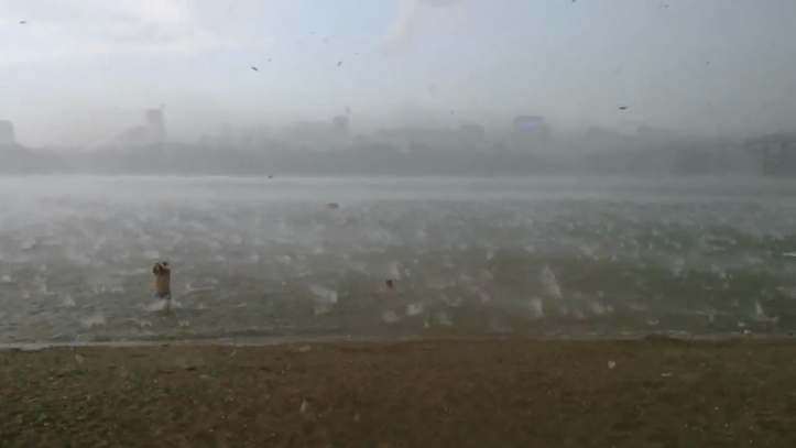 Hail raining on beach
