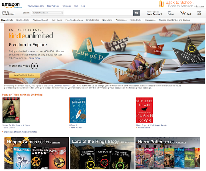 Kindle unlimited page