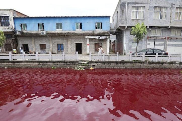 【原因不明】川が突然真っ赤になったと話題に