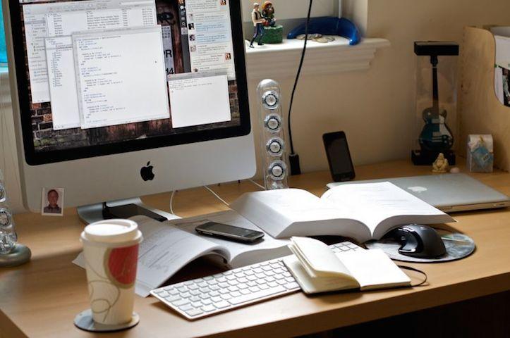 Mac Workstation With Wooden Desks