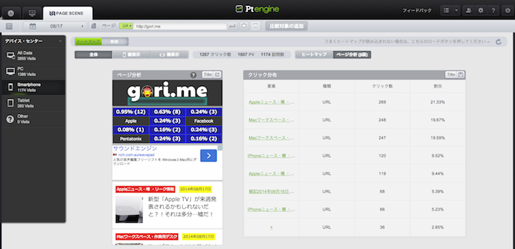 Pt engine クリック数分析機能