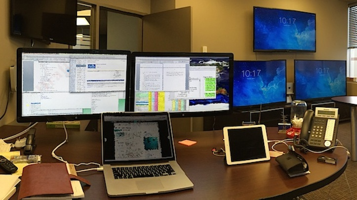 Mac workspace with too many displays