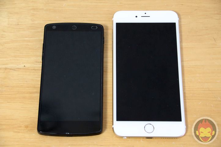 iPhone 6 PlusとNexus 5の外観比較