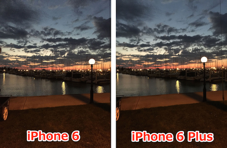 Photos comparison in low light
