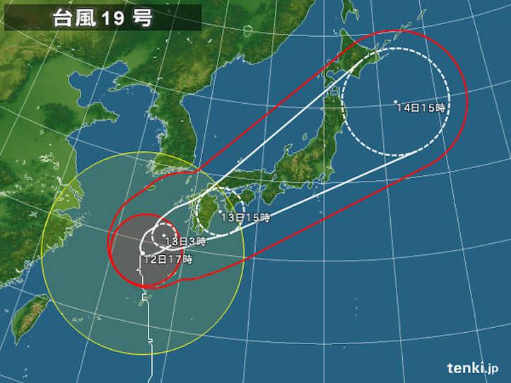 台風19号、首都圏を14日(火)に直撃か