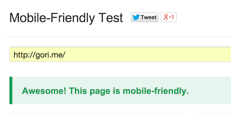 Mobile friendly test results