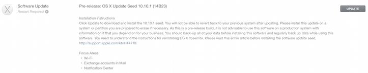 OS X Yosemite 10.10.1 build 14B23