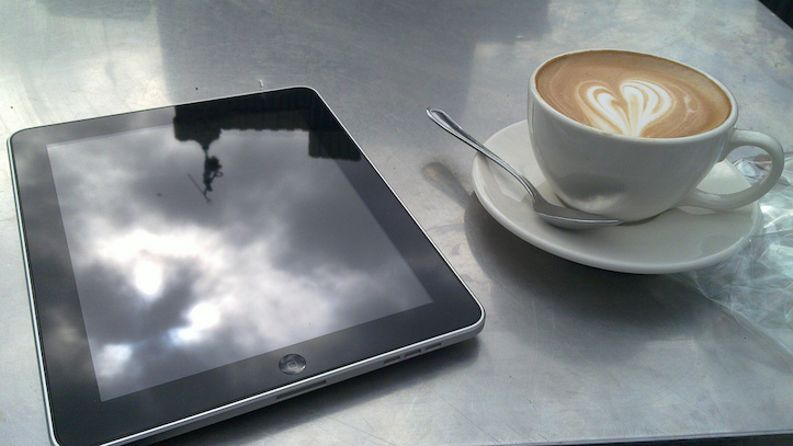 iPad with coffee
