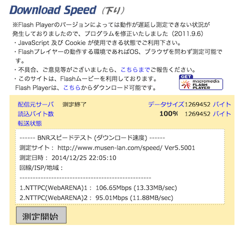 「WN-AC1600DGR3」スピードテスト