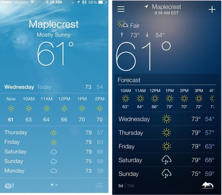 Apple weathe vs yahoo weather