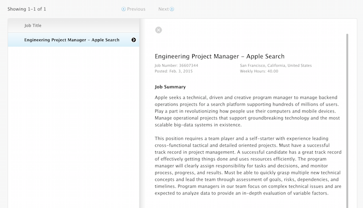 Apple search engineering project manager