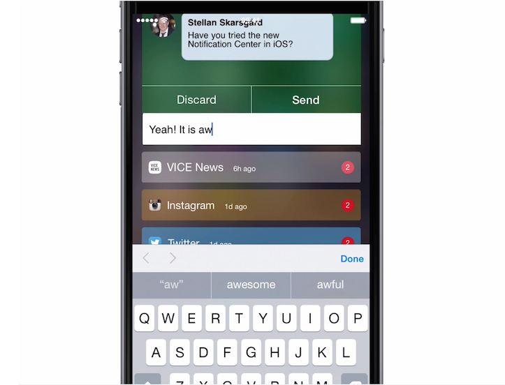 Redesign of the notification center 1