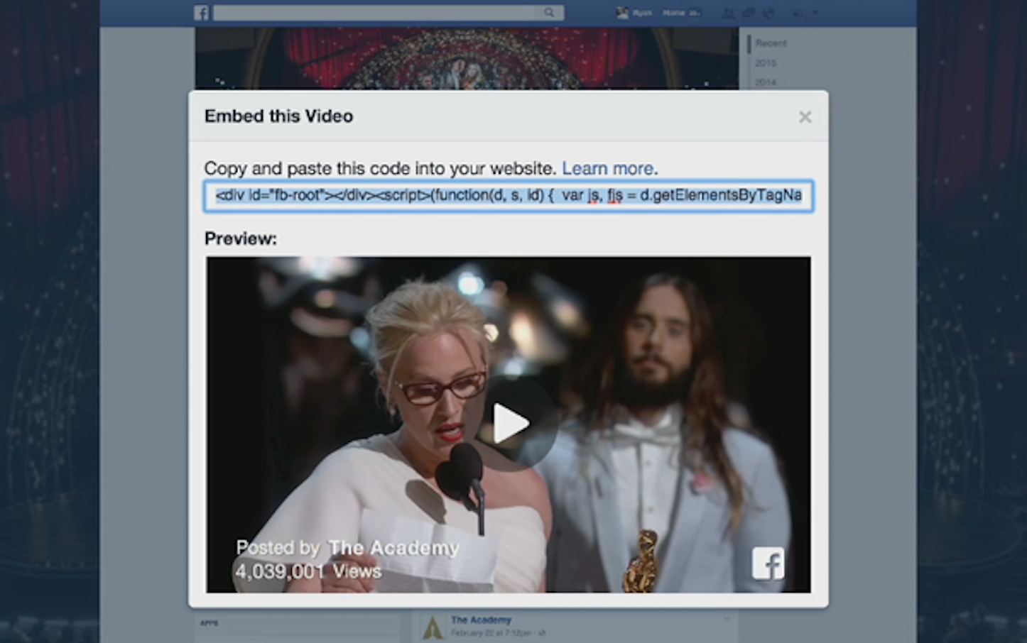 Fb embed video