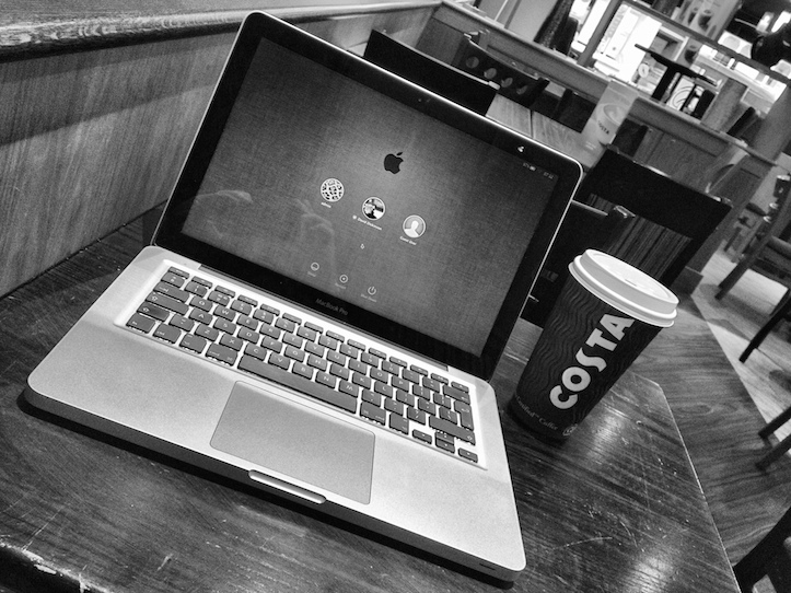 Macbook pro and coffee