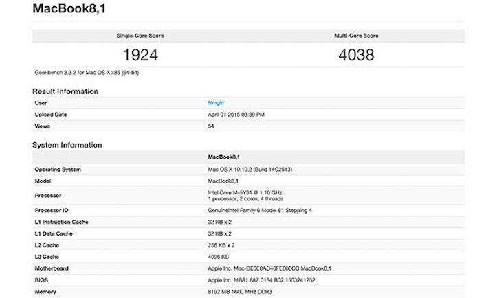 MacBook 12inch BenchMarks