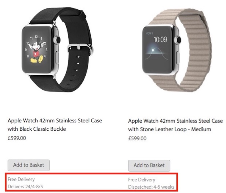 Apple watch shipping