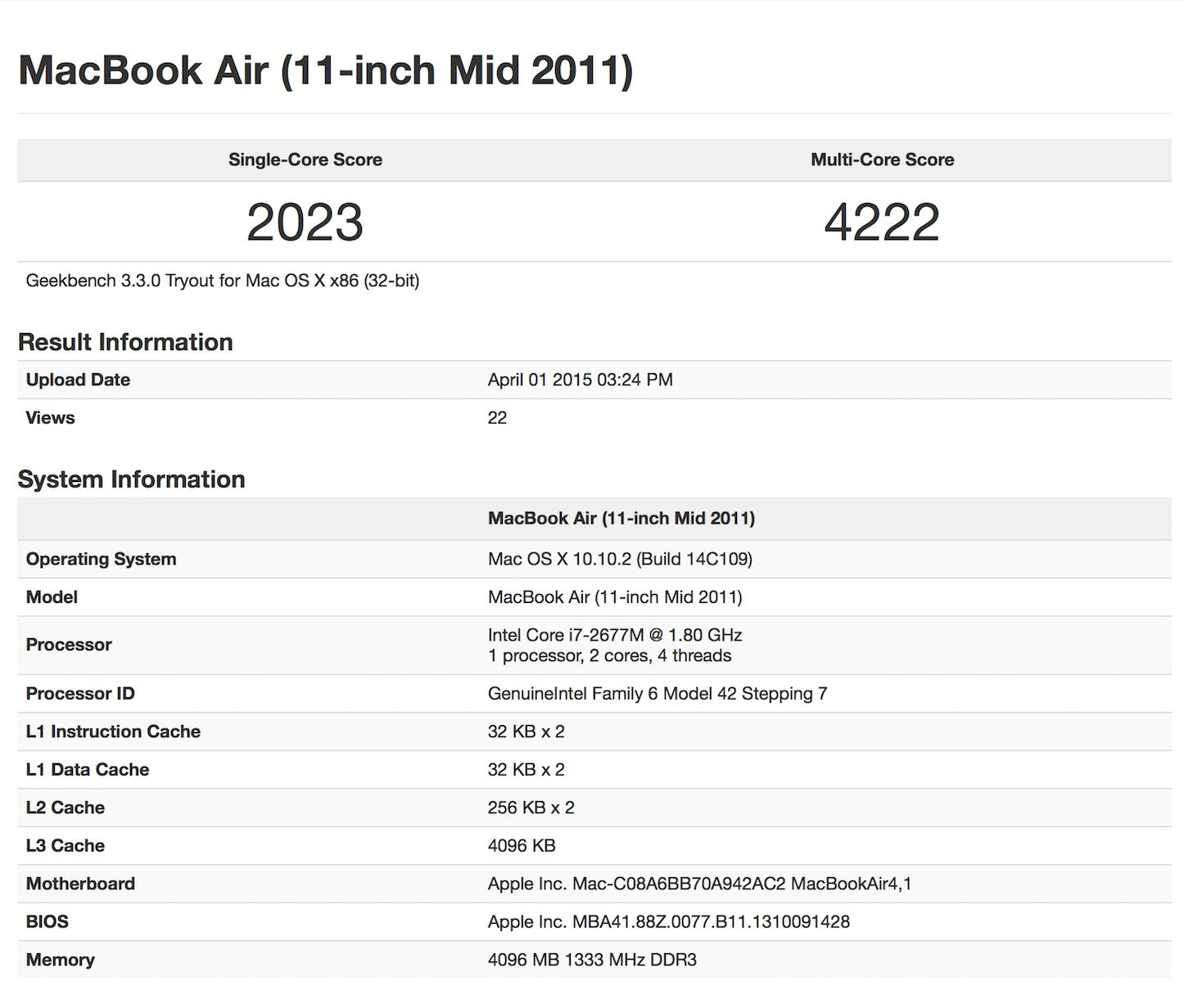 Macbook air 11 201 benchmark