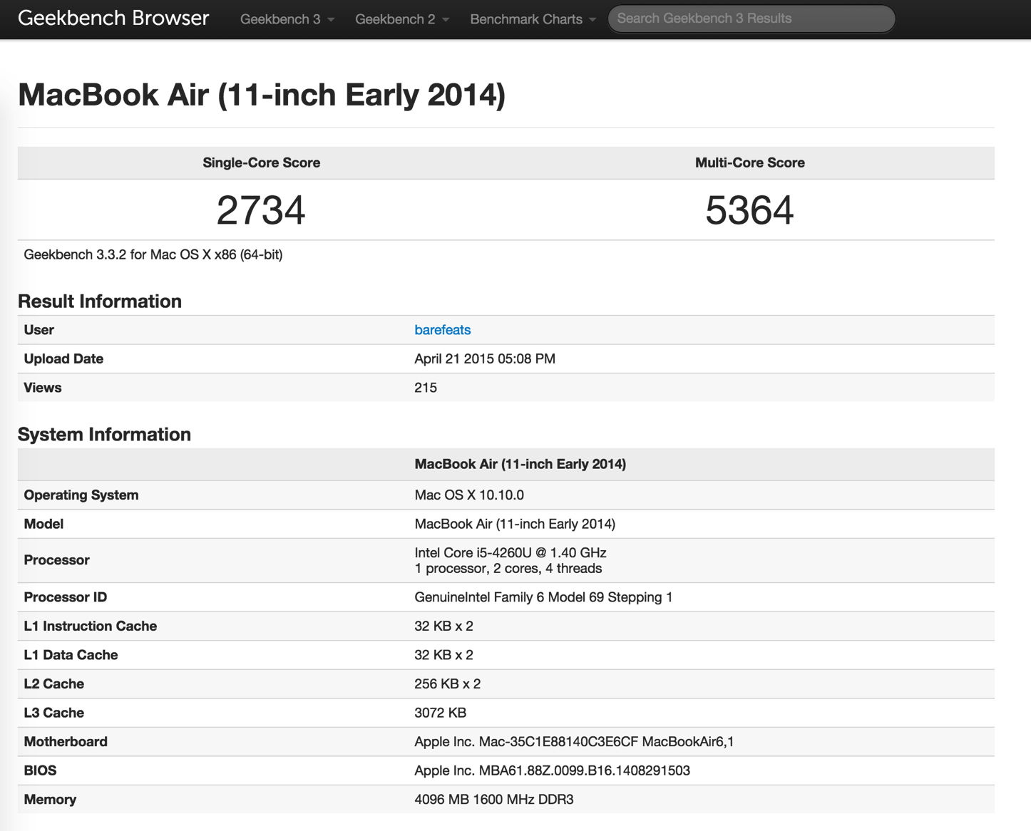 11インチ型「MacBook Air (Early 2014)」
