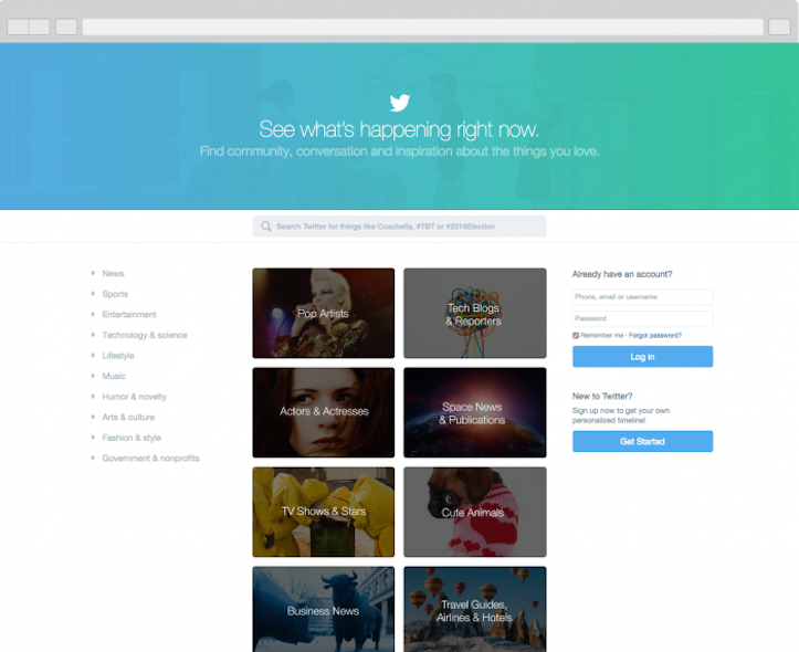New twitter front page