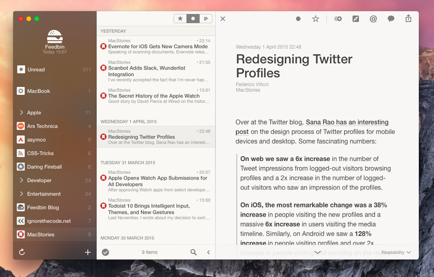 Reeder for yosemite