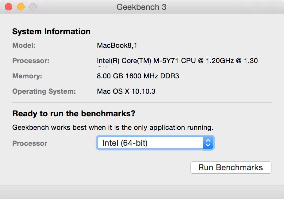 MacBook 12インチのベンチマークスコア