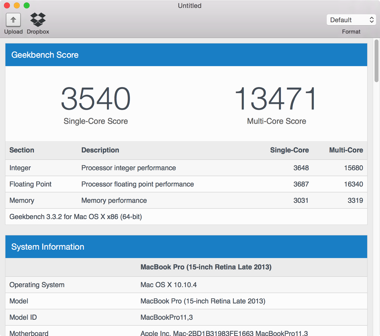 MacBook Pro Retina 15インチのベンチマークスコア