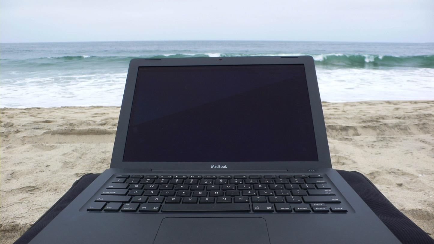 Macbook on the beach