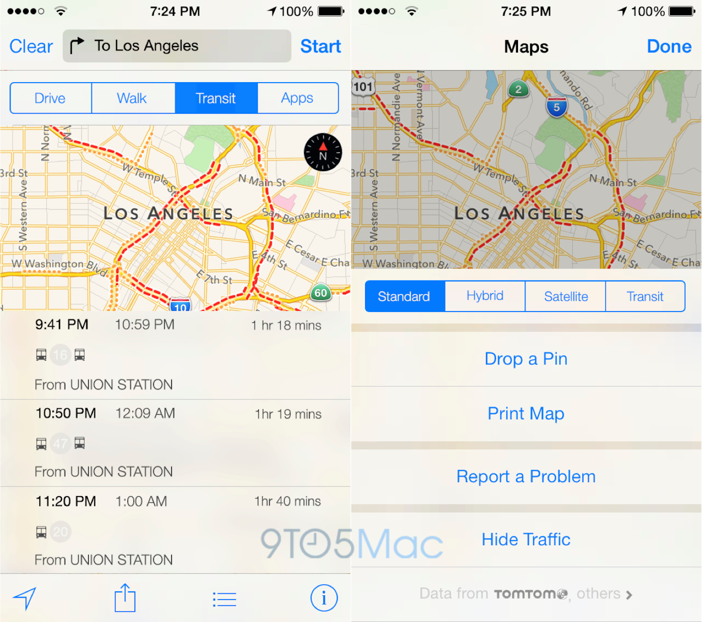 Maps transit ios9
