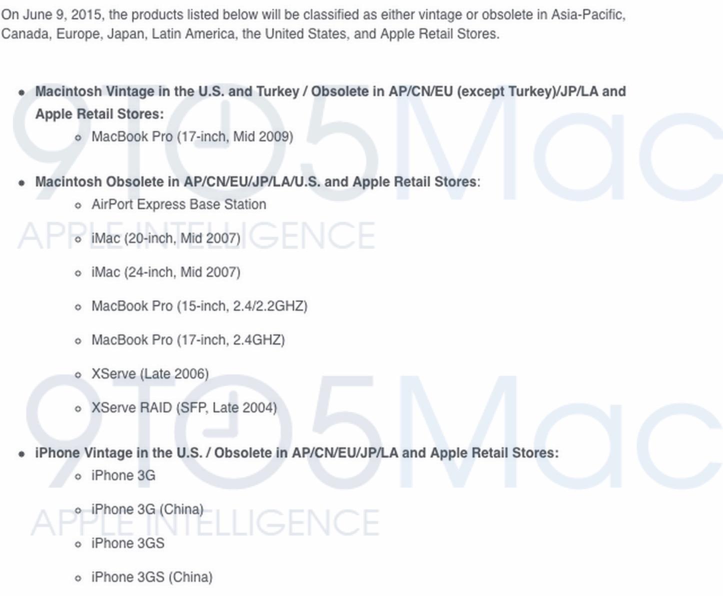 No repair for you obsolete iphone mac