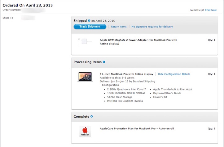Retina macbook pro shipping delay