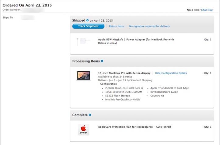 Retina macbook pro shipping delay