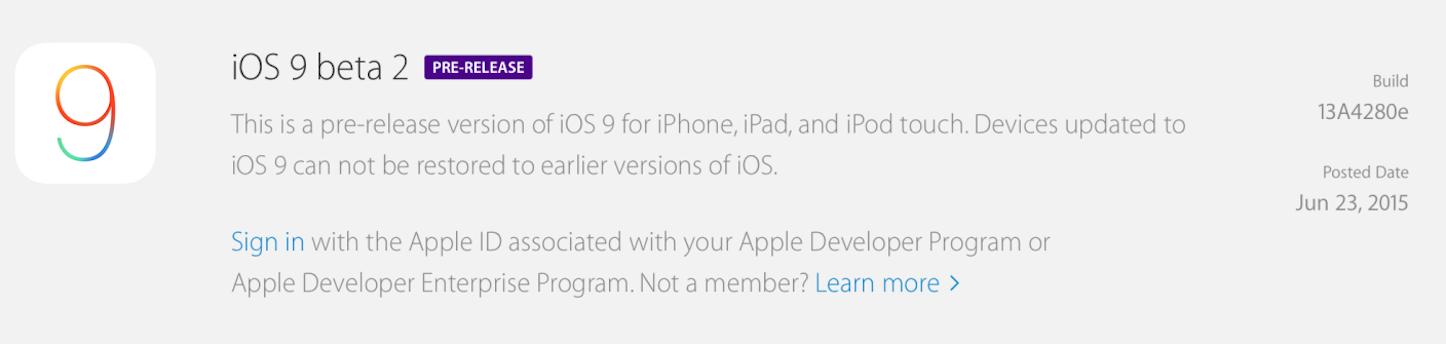 IOS 9 beta
