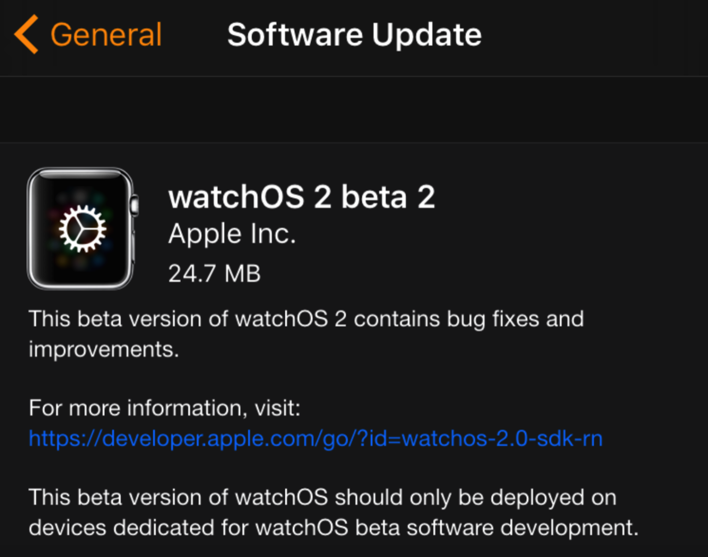 WatchOS 2 beta