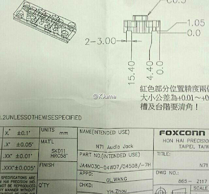 Leaked document revealing iPhone 6s family 12 megapixel camera