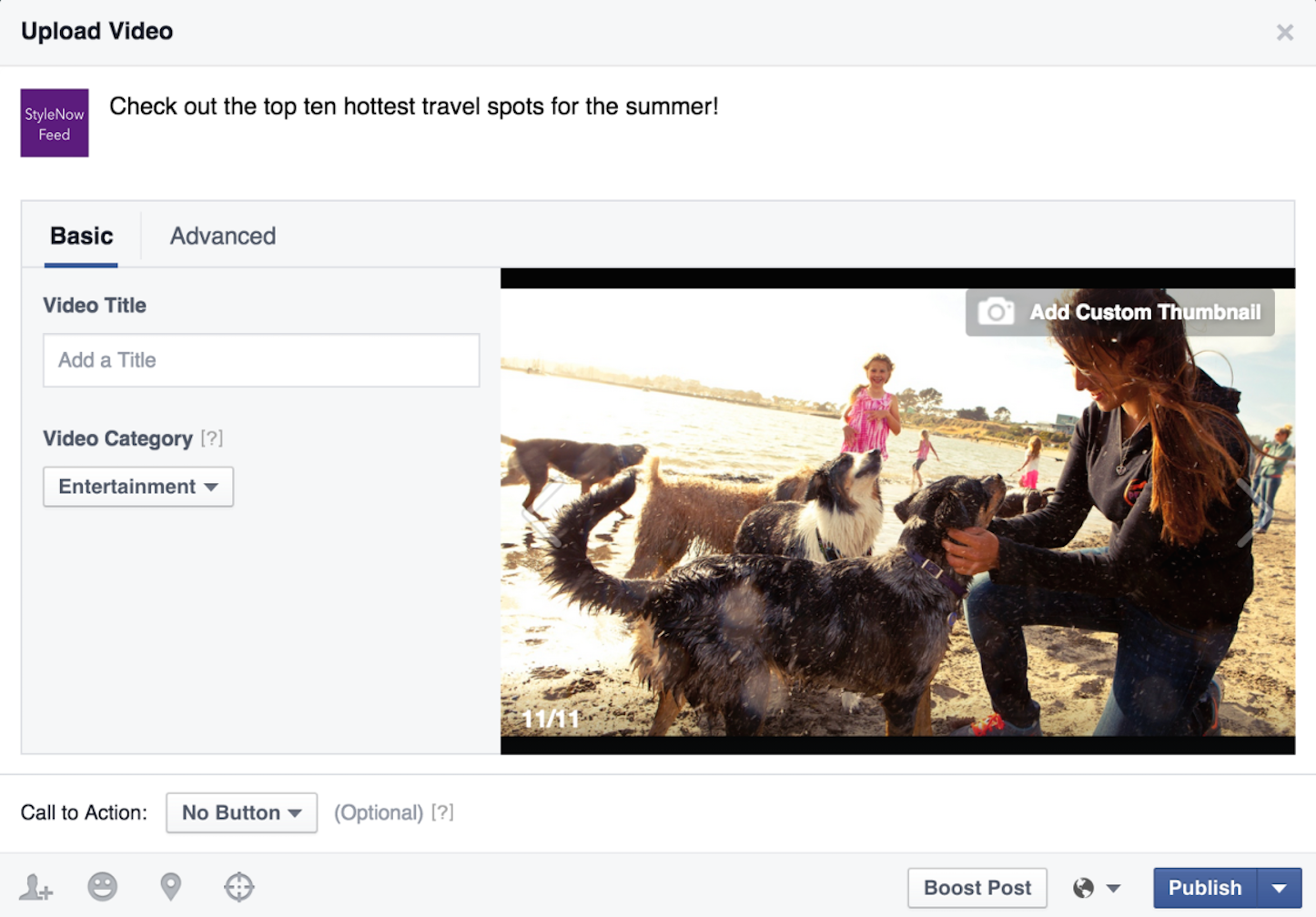 Video upload flow basic options
