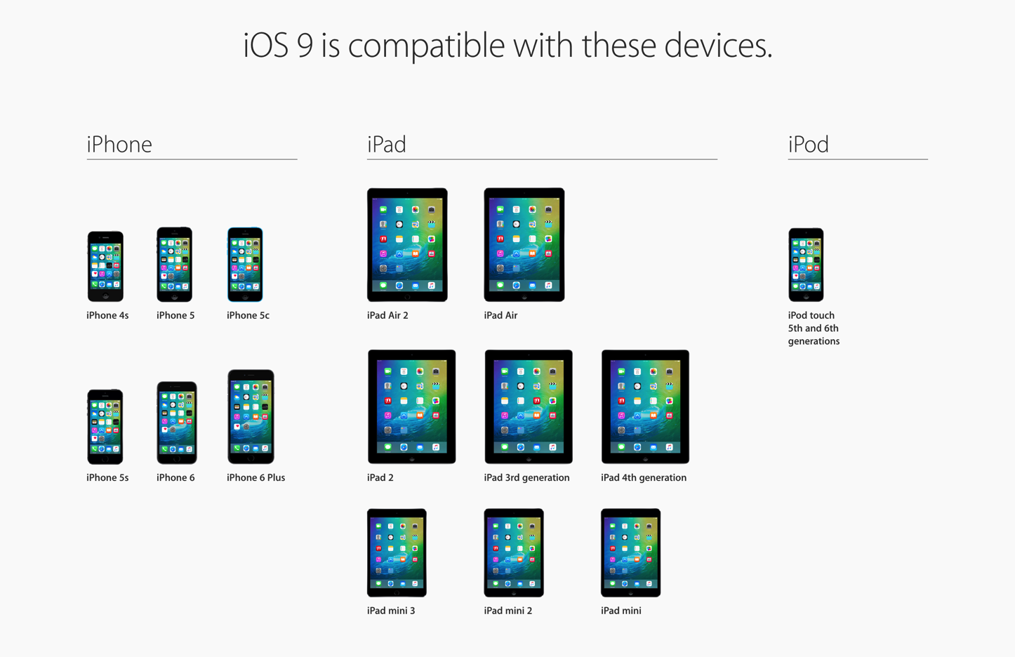 Ios9 compatible devices