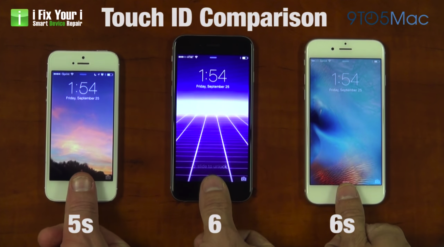 Iphone6s 6 5s touchid comparison