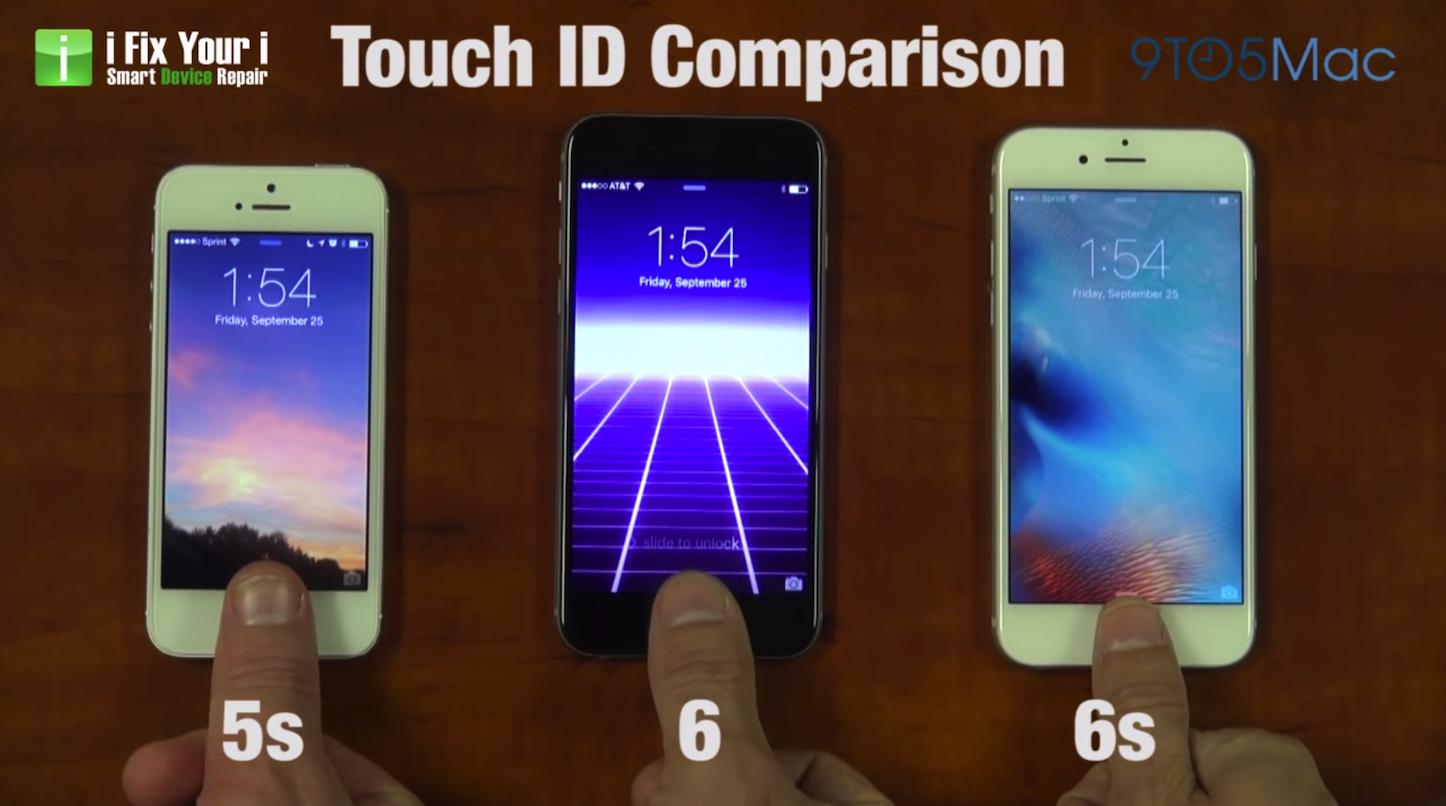 Iphone6s 6 5s touchid comparison