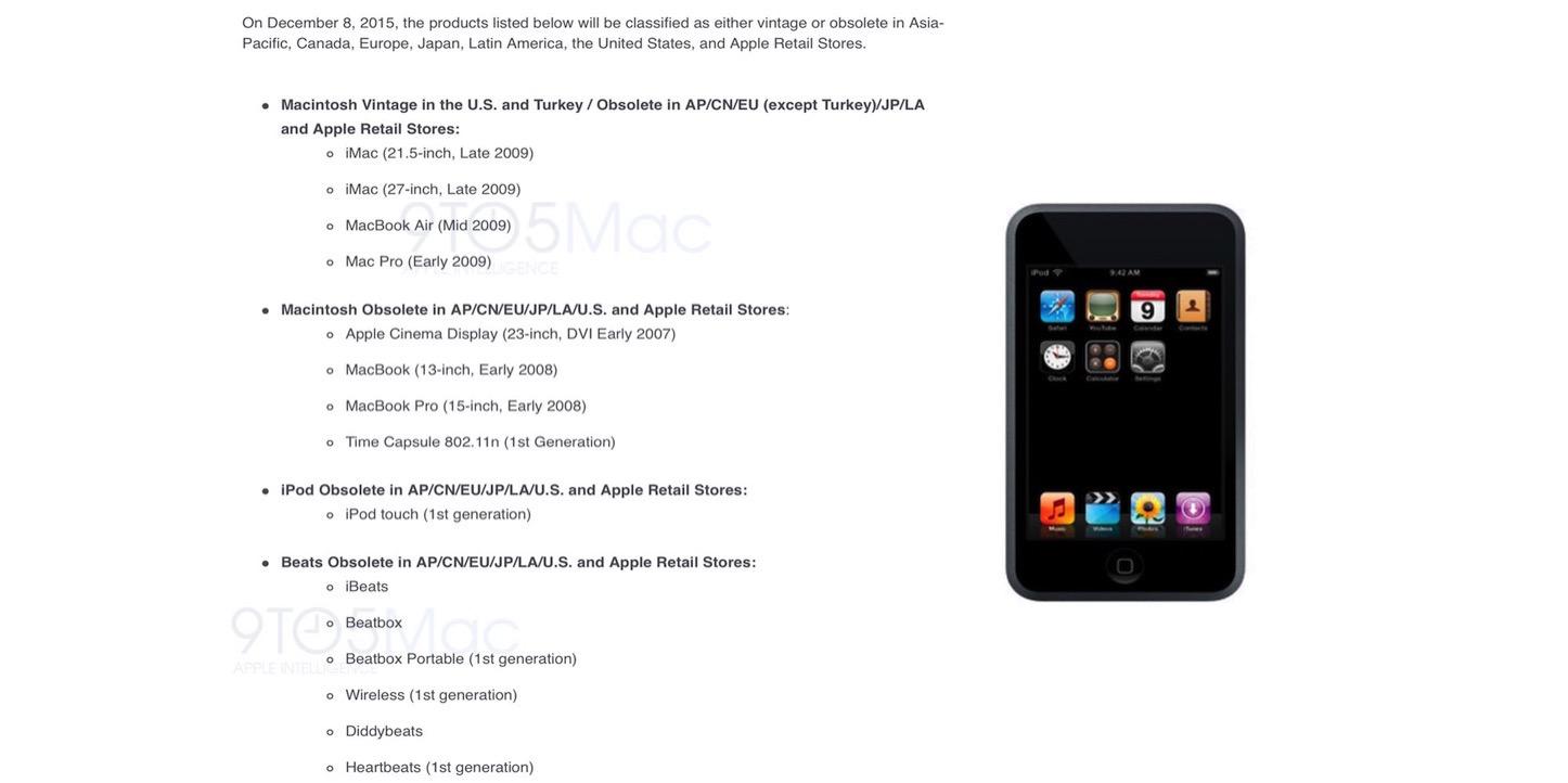Apple obsolete dec 8 2015