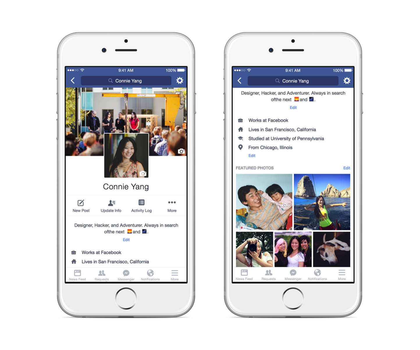 Facebookの新しいプロフィールページ