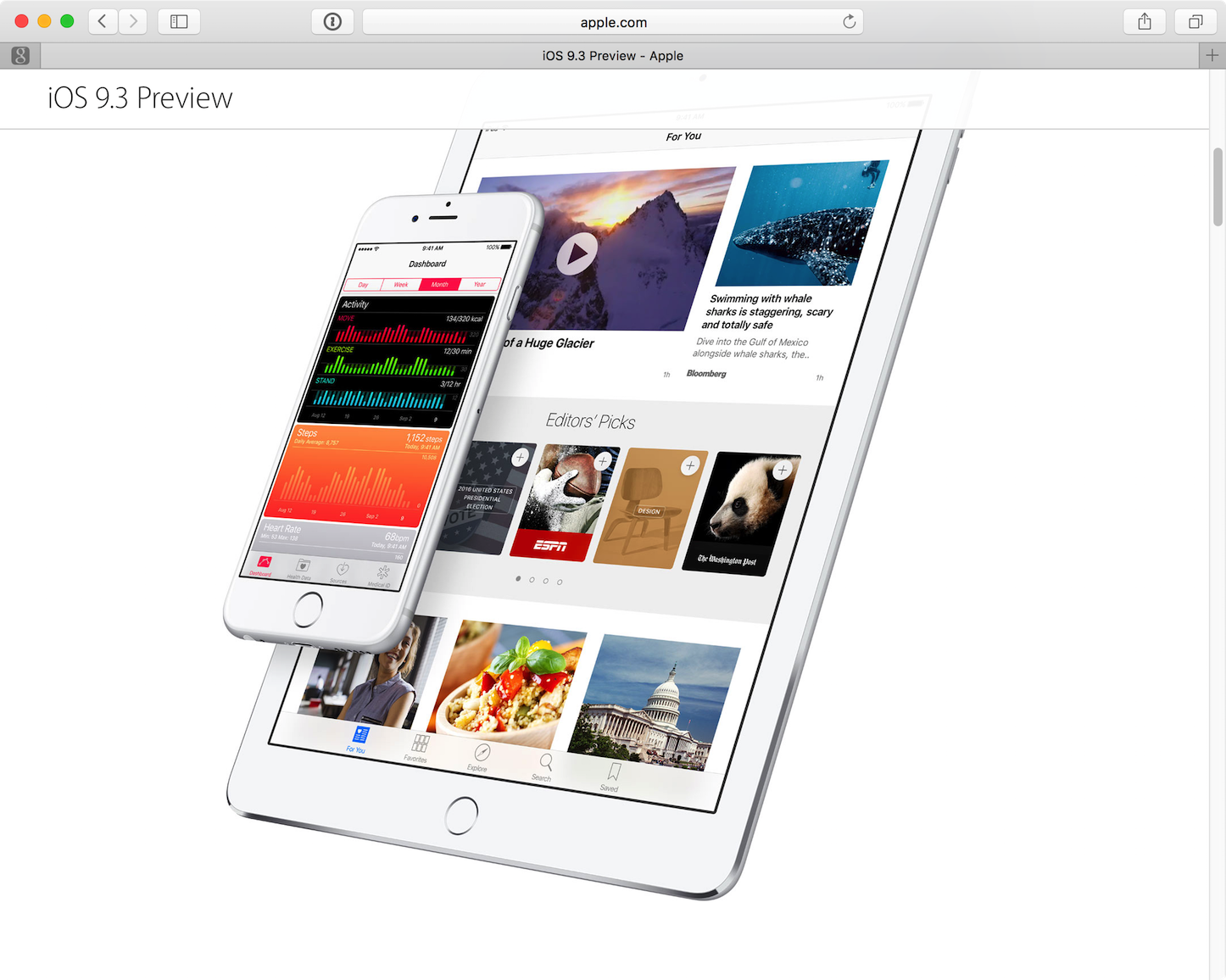 iOS 9.3 Preview Page US