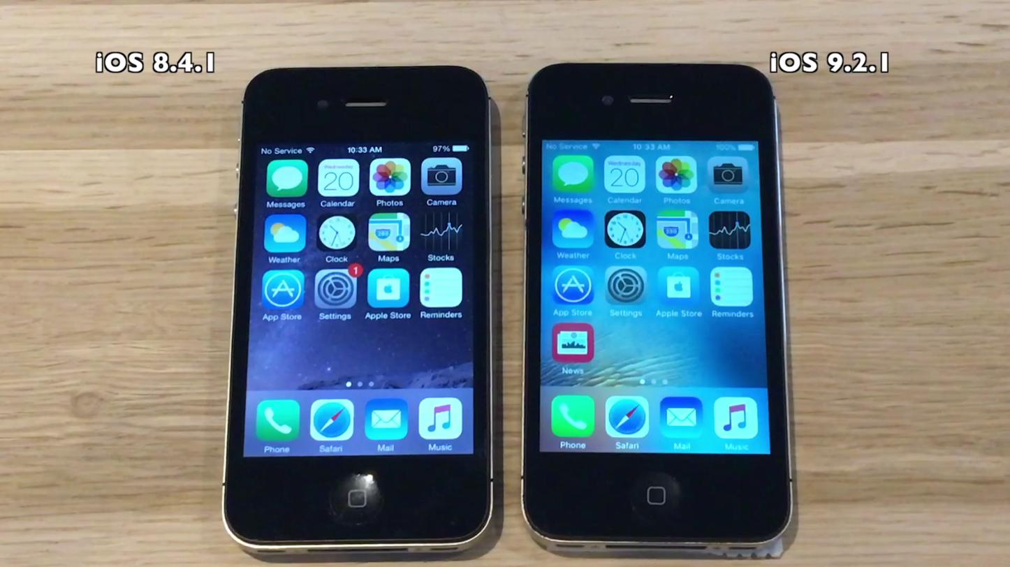 「iPhone 4s」で「iOS 8.4.1」と「iOS 9.2.1」の動作を比較した動画