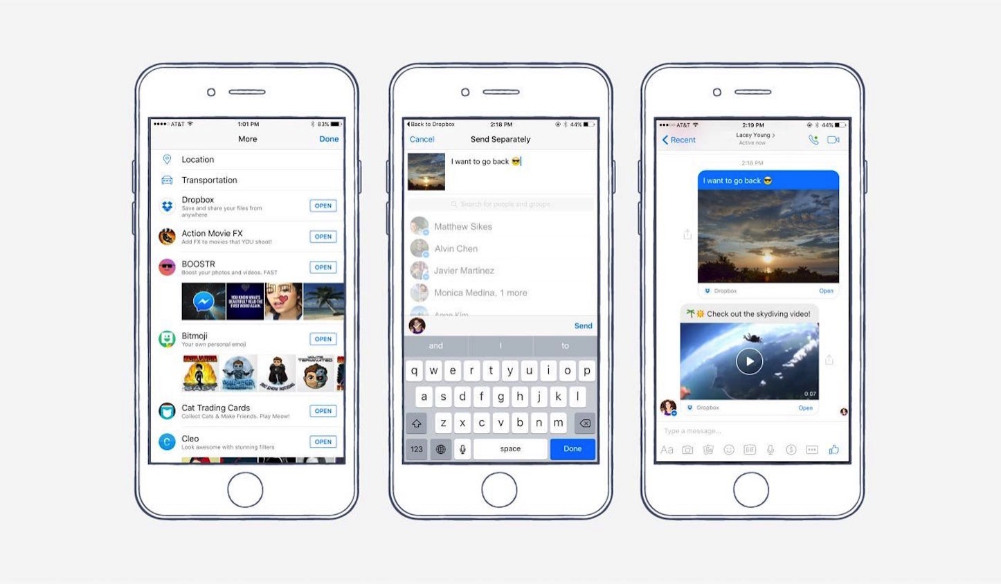 Facebook messenger dropbox screenshots