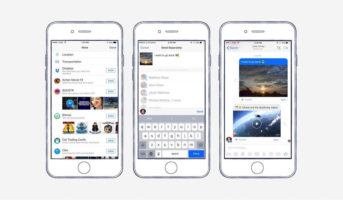 Facebook messenger dropbox screenshots