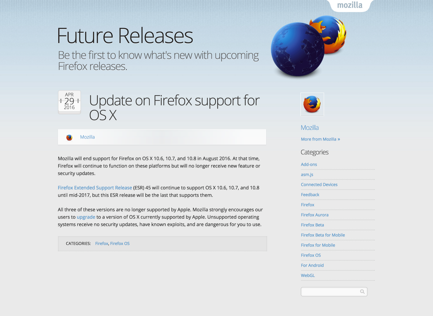 Firefox ending support for osx versions