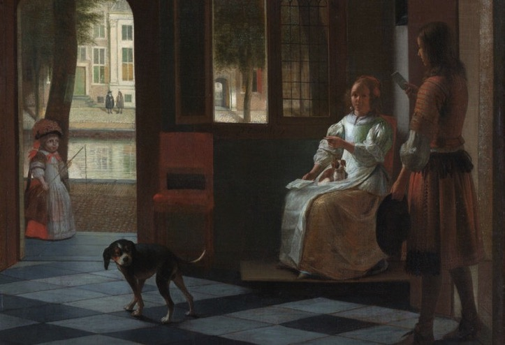 Man hands a letter to a woman in a hall by Pieter de Hooch